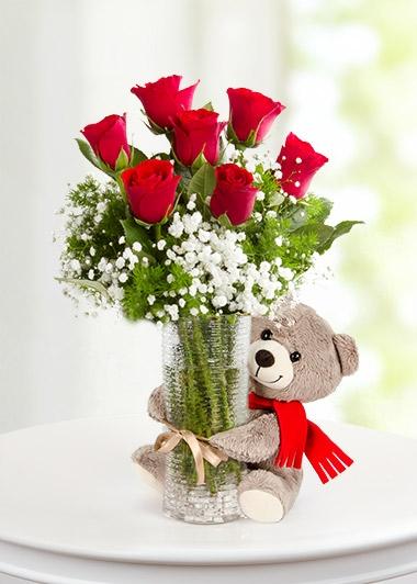 Bitmeyen Aşk Gülleri 7 ad gül ayıcık